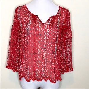 Jessica Simpson Red Sheer Top